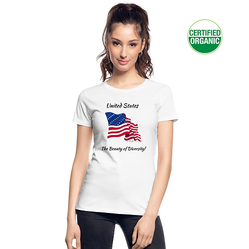 A girl wears a white t-shirt with the Civil Rights US flag on it, and the words The Beauty of Diversity