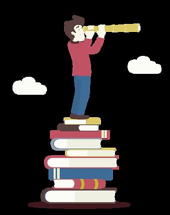 aluno em cima de livros
