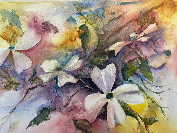 "Brodman, Judi Getch ""Dogwood Delight""  watercolor 19.5X 25 framed"