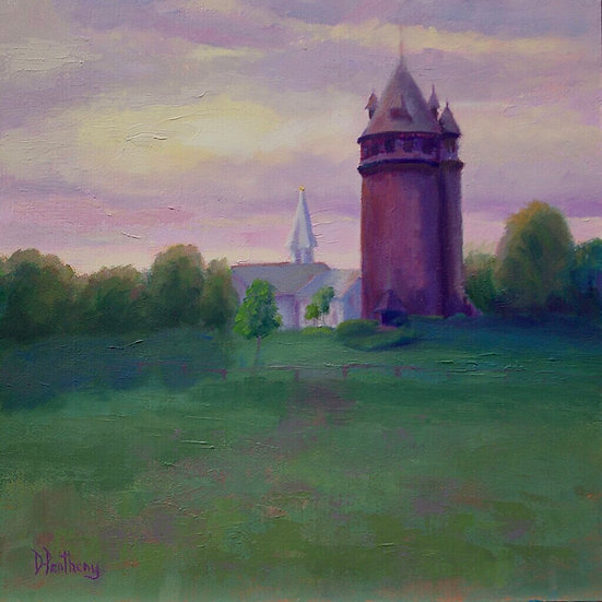 """Pentheny, Dorothy """"Magic at Larson Tower"""" 12X12 oil silver frame"""