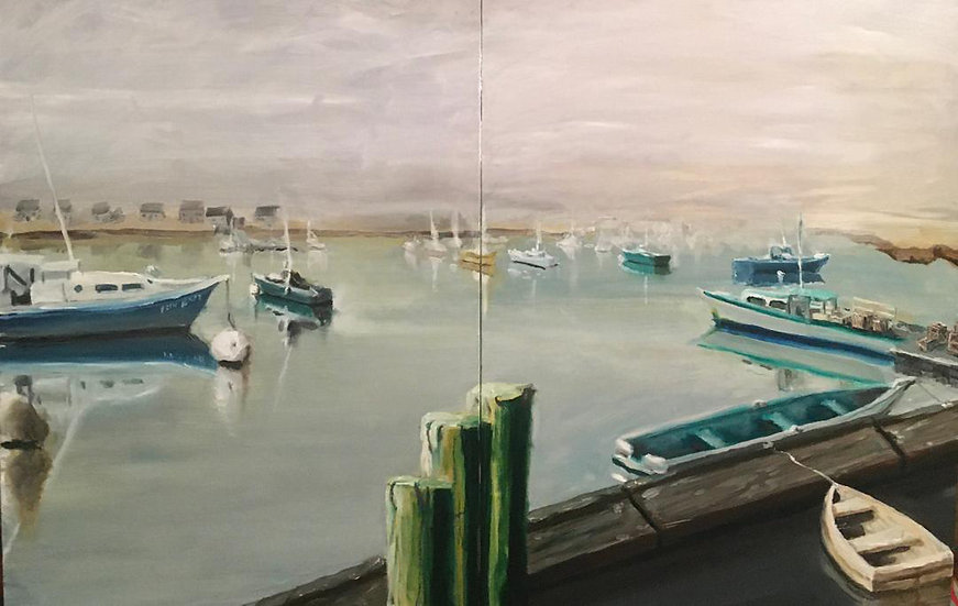Reynolds, Daniel; 'Town Pier' Oil diptych 16x12 or 32x24  unframed