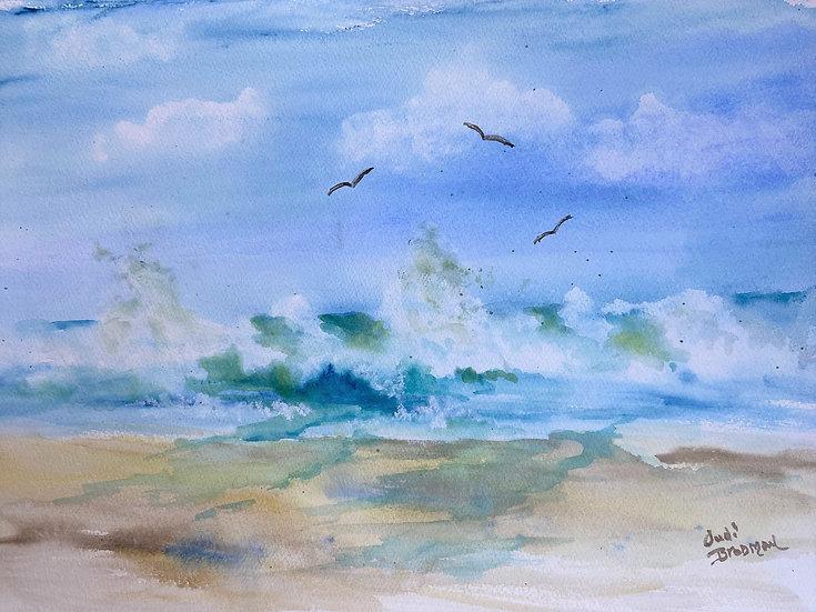 "Brodman, Judi Getch ""An Ocean Break""  watercolor 22X17 framed"