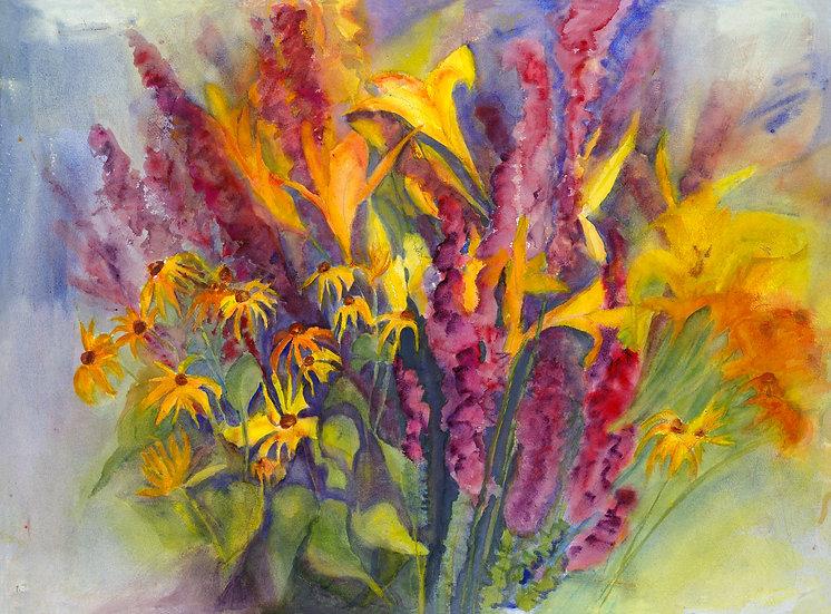 """Cornacchio, Janet """"Ode to Joy: Summer Bouquet"""" giclée framed 12X15"""
