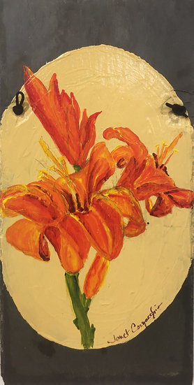"Cornacchio, Janet ""Daylilies"" on slate 8.5x18"