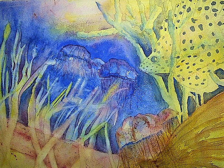 "Cornacchio, Janet ""Under the Sea-Snorkel visions"" watercolor  framed 20x15"