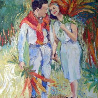 """Scendendo  (Walking Down the Aisle), 2009, oil on canvas, 20 x 24""""h"""
