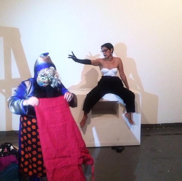 Domesticity, 2016, 3-hr. durational performance, La Pocha Nostra workshop, (with Marissa Magdalena Sykes),18th Street Arts Center, Santa Monica, CA