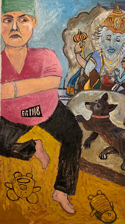 "Demon Killers, 2020, oil on canvas, 32 x 53""h"