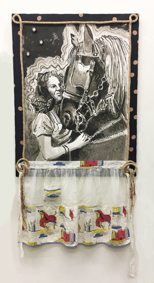 "LOVE OF MY LIFE REDUX, India ink on arches and apron, fabric, rope, 26"" X 50""h, 2008-2018"