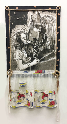 """LOVE OF MY LIFE REDUX, India ink on arches and apron, fabric, rope, 26"""" X 50""""h, 2008-2018"""