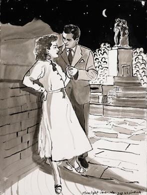 """Moonlight Serenade, 2008, Ink on Paper, 22 x 30""""h"""