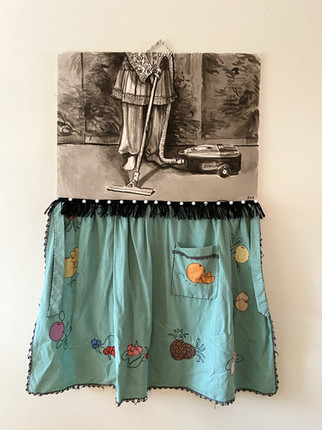 """ELECTROLUX, 2018, India Ink on Arches, Embroidered and appliqued apron, fringe, pompoms, 30 x 52""""h"""