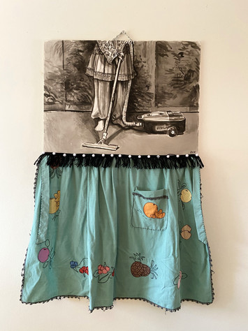 "ELECTROLUX, 2018, India Ink on Arches, Embroidered and appliqued apron, fringe, pompoms, 30 x 52""h"