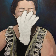 """Mary Marshall Speaks No Evil, 2017, oil on linen, 50w x 62""""h"""
