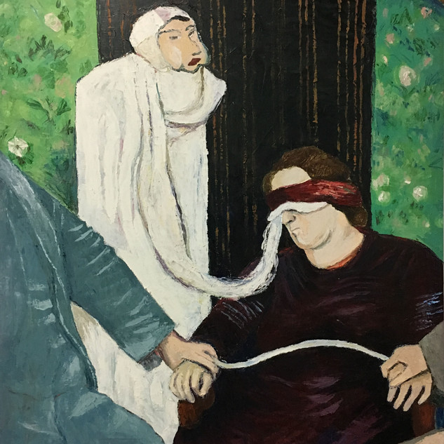 """Helen Duncan at her Home, Note Mask-like Faces, 2016, oil on linen, 50w x 62""""h"""
