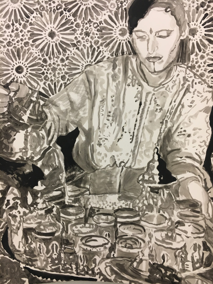 "TEA, 2017, India Ink on Arches, 22"" x 30"" h"