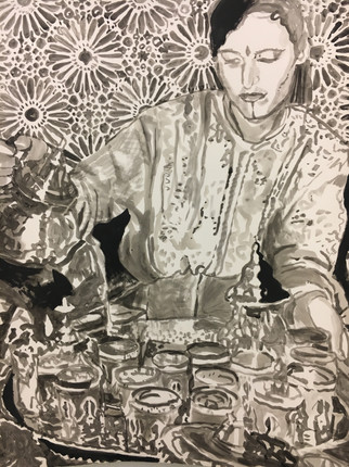 """TEA, 2019, India Ink on Arches, 22"""" x 30"""" h"""