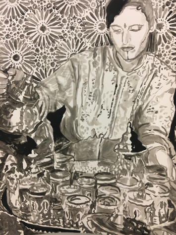"TEA, 2019, India Ink on Arches, 22"" x 30"" h"