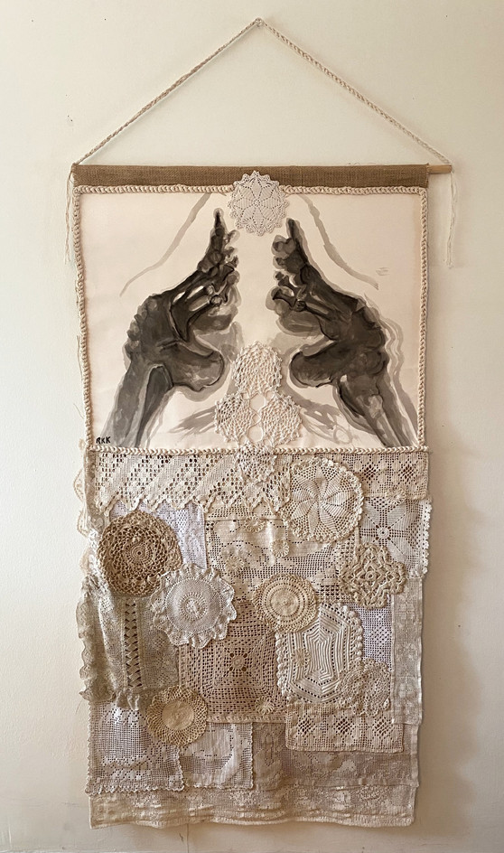 "MADE BY HAND, 2019, India ink on paper, antique lace and crocheted items, burlap, mixed media, 30 x 72""H"