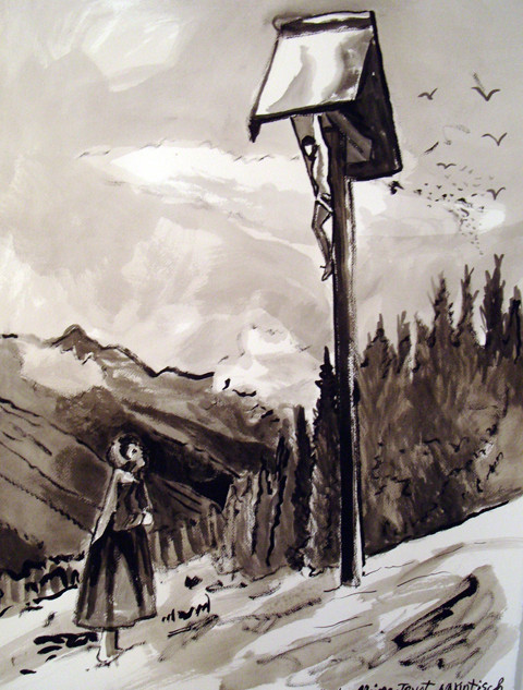 """Alpine Tryst, 2008, Ink on Paper, 22 x 30""""h"""
