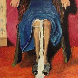 "Teenager Kathleen Goligher with Something Leaking from her Skirt, 2017, oil on linen, 50w x 62""h"