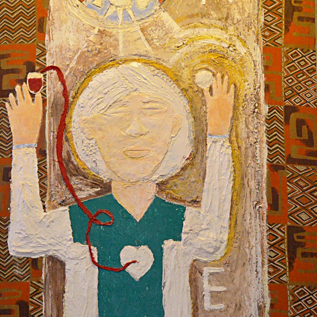Communion, 2016, Plaster, fabric, acrylic paint on plywood, 4' x 8'h