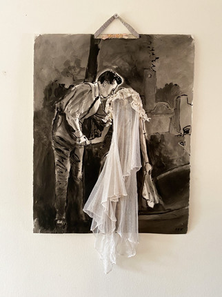"""The Secret, India Ink on Arches, antique lace mesh, silk flowers, 22 x 33""""h"""