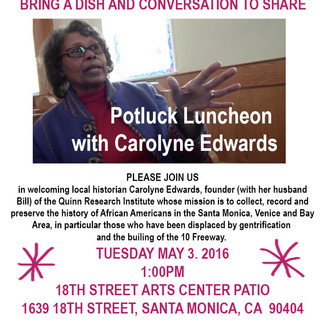 Invitation to Potluck Luncheon featuring Carolyne Edwards, local African American historian, 2016