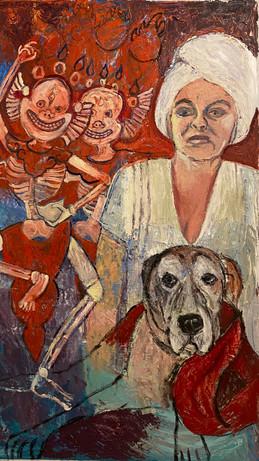 "Milo in the Bardo, 2020, oil on canvas, 32 x 51"" h"