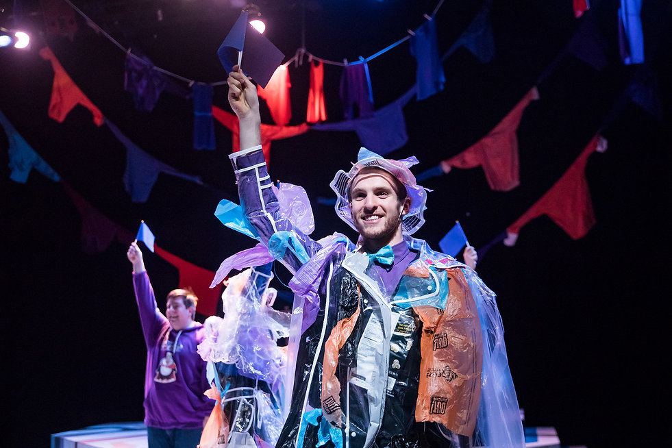 recycled raincoats trash Emperor's New Cloths beautiful costumes Patagonia Sanja Manakoski Costume Design Chicago New York Theatre.