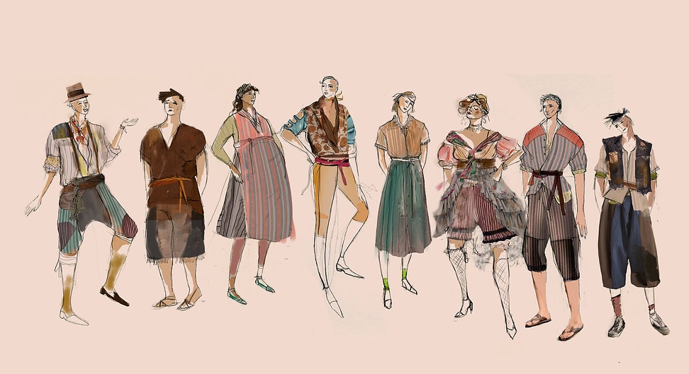 Drawings and Costume Design by Sanja Manakoski for Theatre Play Measure for Measure by Shakespear at Theatreworks in Colorado Springs. New York Chicago
