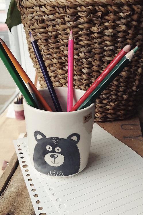 Pot à crayons ours