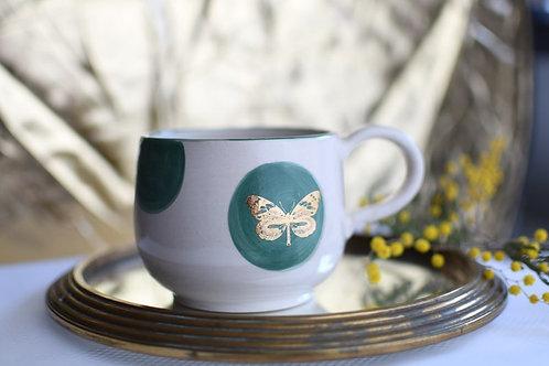 Tasse papillon doré