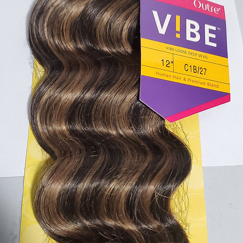 HUMAN HAIR & PREMIUM BLEND LOOSE DEEP WEAVING;VIBE;OUTRE;CURLY;WEFT;SEW-IN;WOMEN