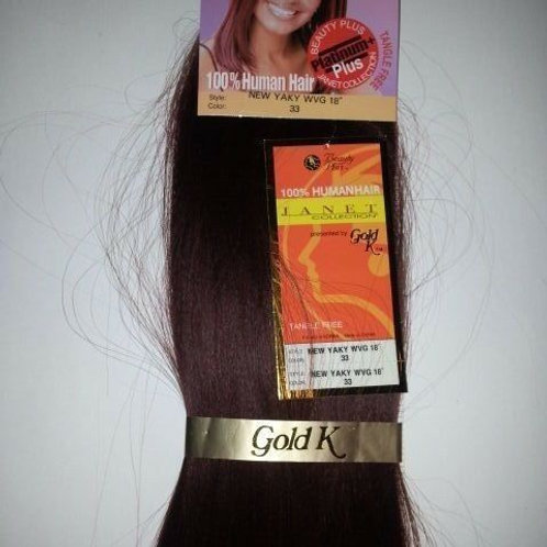 100% HUMAN HAIR TANGLE FREE NEW YAKY WEAVE#33;;STRAIGHT;JANET;GOLD K;PLATINUM +