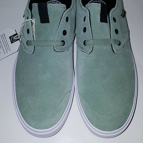STATE FOOTWEAR; BISHOP MEN'S SKATE SHOES;MINT/WHITE SUEDE; FTWST10805