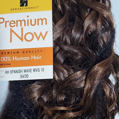 100% HUMAN HAIR WEAVE; SENSATIONNEL PREMIUM NOW;SPANISH WAVE;CURLY;COLOR #4/30