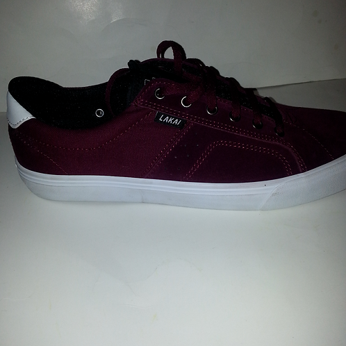 LAKAI FLACO MEN'S SKATEBOARD SHOES; PORT SUEDE;BURGUNDY;MS416-0110-A00