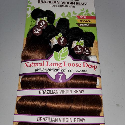 NAKED BRAZILIAN VIRGIN REMY 100% HUMAN HAIR; BODY WAVE 7PCS+CLOSURE;CURLY;SAGA;