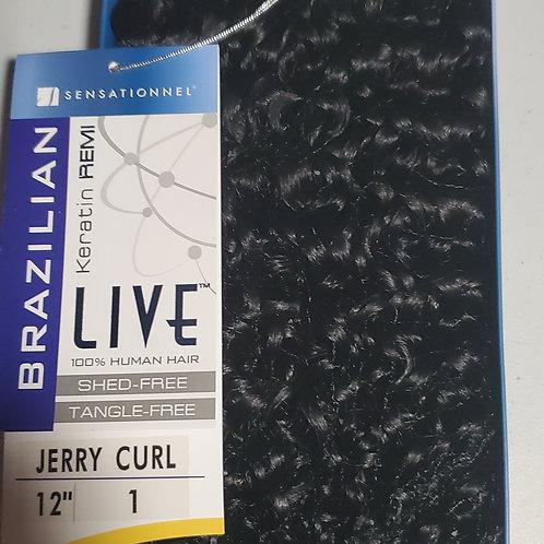 100% human hair weave;live brazilian keratin remi;jerry curl;sensationnel;#1