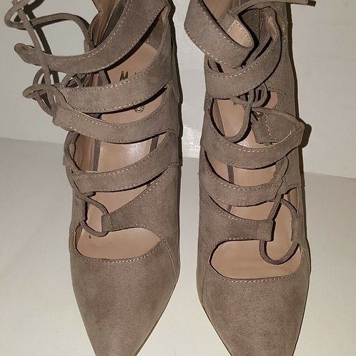 MIX NO. 6 KLEMTU PUMP WOMEN SHOES/LACE UP/BACK ZIPPER/FAUX SUEDE/TAUPE/BEIGE