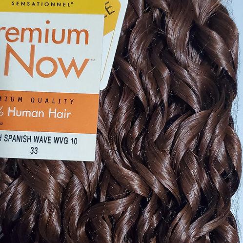 100% HUMAN HAIR WEAVE; SENSATIONNEL PREMIUM NOW;SPANISH WAVE;CURLY;COLOR #33