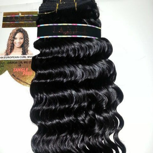 100% HUMAN HAIR EUROPEAN CURL WEAVE# 1B;CURLY;WET& WAVE ;JANET;GOLD K;PLATINUM