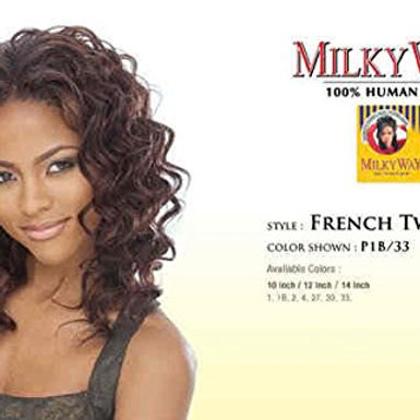 100% HUMAN HAIR FRENCH TWIST WEAVE TANGLE-FREE;CURLY;MILKY WAY SHAKE N GO;WOMEN