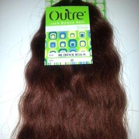 100 % HUMAN HAIR TANGLE FREE FRENCH BULK 16 INCH; OUTRE SILVER; BRAIDING; WAVY;