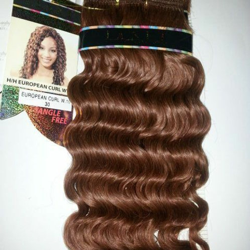 100% HUMAN HAIR EUROPEAN CURL WEAVE#30;CURLY;WET& WAVY;JANET;GOLD K;PLATINUM +