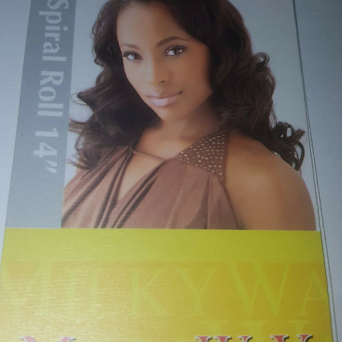 100% HUMAN HAIR SPIRAL ROLL WEAVE TANGLE-FREE;TWIN PACK;CURLY;MILKY WAY; SEW-IN
