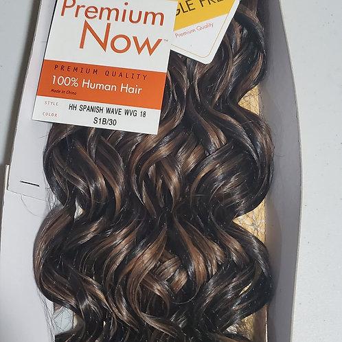 100% HUMAN HAIR WEAVE; SENSATIONNEL PREMIUM NOW;SPANISH WAVE;CURLY;18 INCH;WOMEN