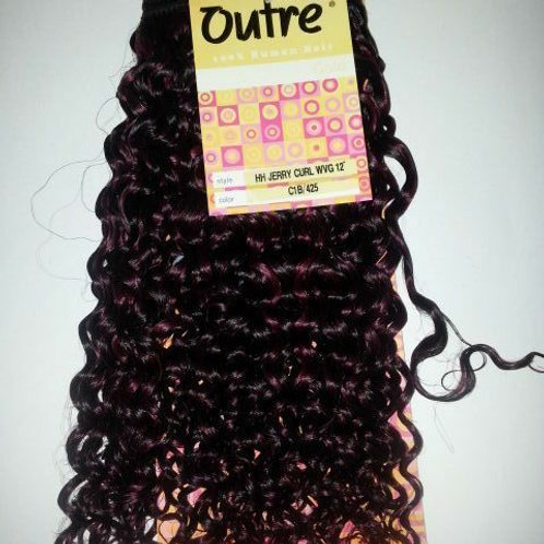 100% HUMAN HAIR TANGLE FREE JERRY CURL WEAVING #C1B/425;CURLY;WEFT;OUTRE GOLD;