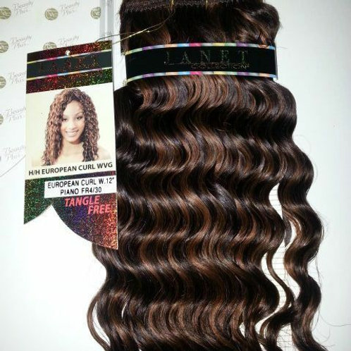 "100% HUMAN HAIR TANGLE FREE EUROPEAN CURL WEAVE 12""#FR4/30;CURLY;JANET;PLATINUM"